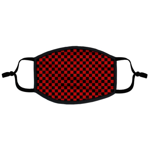 Checkered Black and Red Flat Face Mask