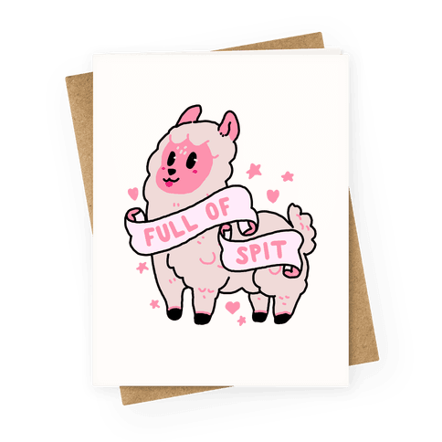 Full of Spit Llama Greeting Card