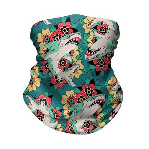 Floral Shark Traditional Tattoo Neck Gaiter