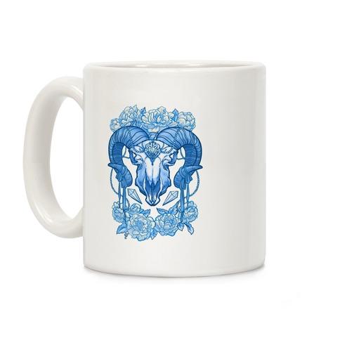 Flowery Ram Skull Coffee Mug