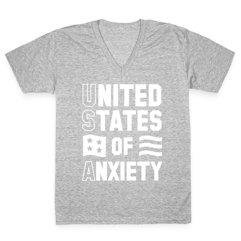 United States of Anxiety V-Neck Tee Shirt