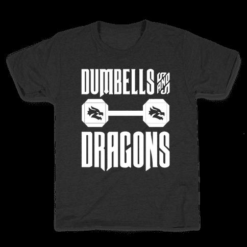 Dumbells & Dragons Parody White Print Kids T-Shirt