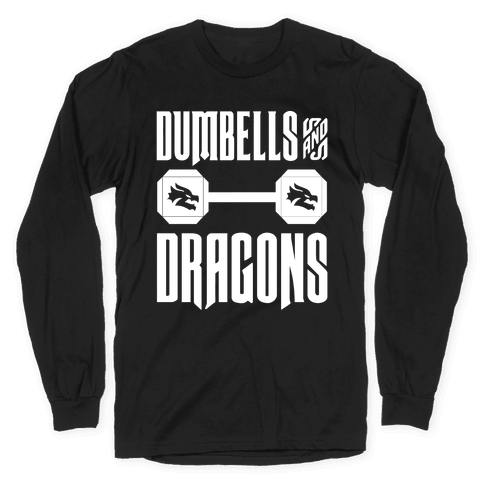 Dumbells & Dragons Parody White Print Long Sleeve T-Shirt