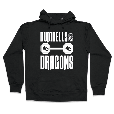 Dumbells & Dragons Parody White Print Hooded Sweatshirt