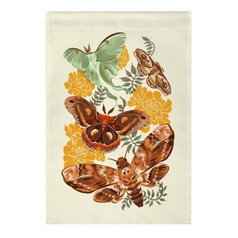 Moths & Marigolds Garden Flag