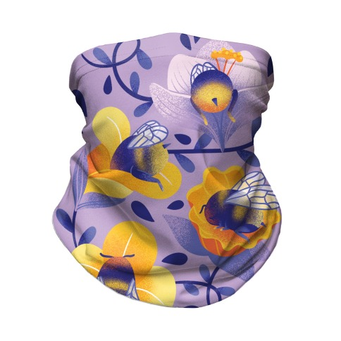 Sleepy Bumble Bee Butts Floral Neck Gaiter