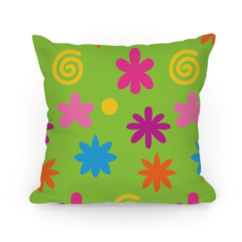 2000's Funky Flower Pattern Pillow