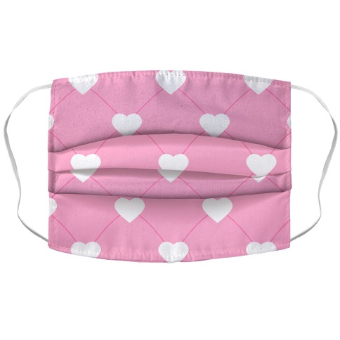 Simple Heart Pattern pink Accordion Face Mask