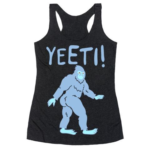 Yeeti Yeti Parody White Print Racerback Tank Top