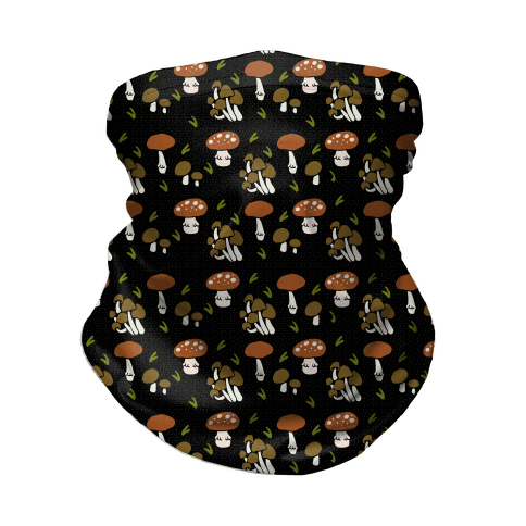 Forest Mushroom Boho Pattern Black Neck Gaiter