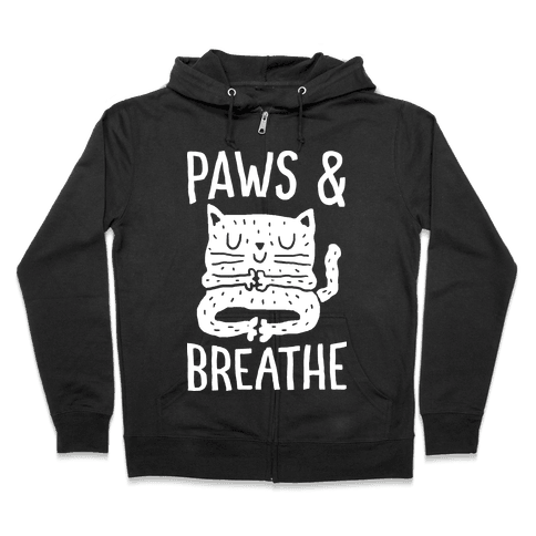 Paws And Breathe Yoga Cat Zip Hoodie