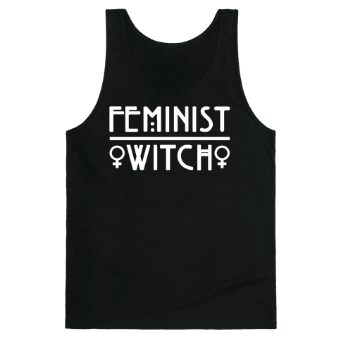 Feminist Witch White Print Tank Top