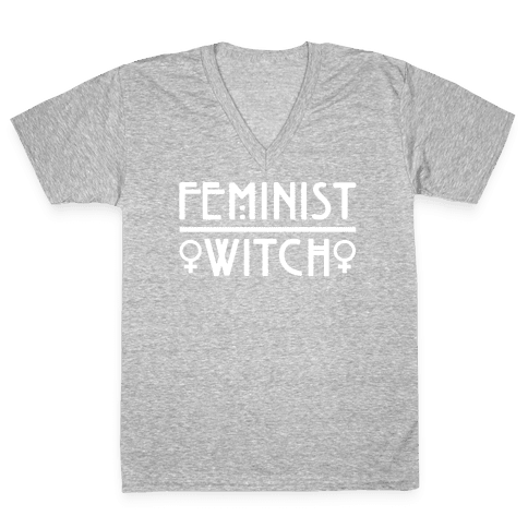Feminist Witch White Print V-Neck Tee Shirt