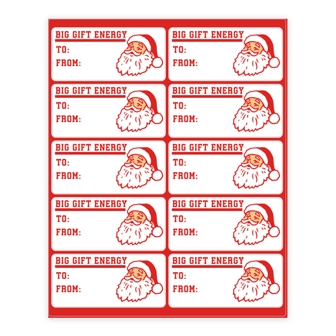 Big Gift Energy Gift Tags Sticker and Decal Sheet