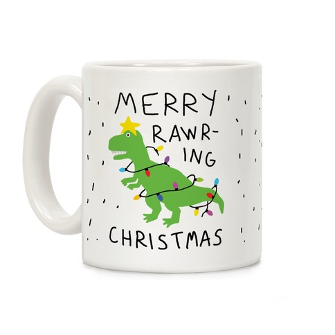 Merry Rawring Christmas Dinosaur Coffee Mug