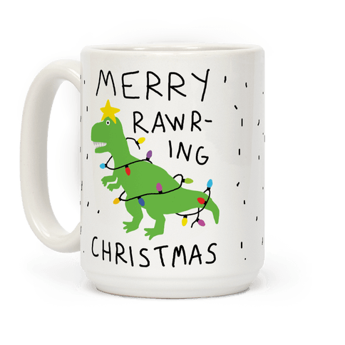 Merry Rawring Christmas Dinosaur Coffee Mug