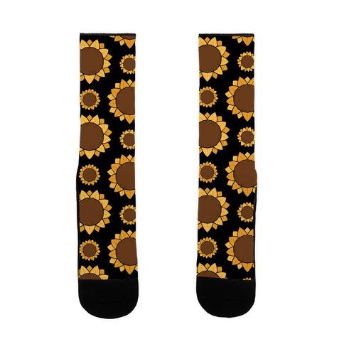 Sunflower Pattern Black Sock