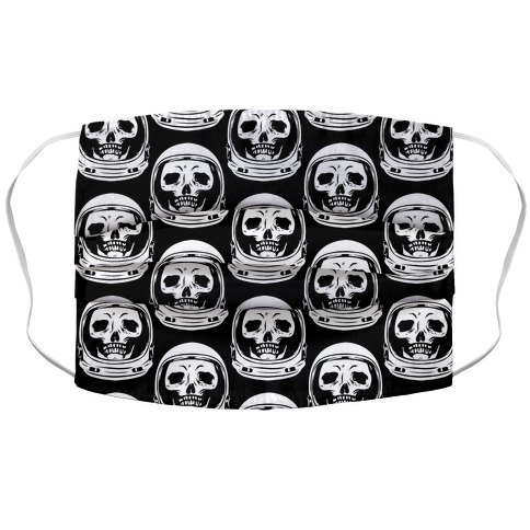 Skulls in Astronaut Pattern Black Accordion Face Mask