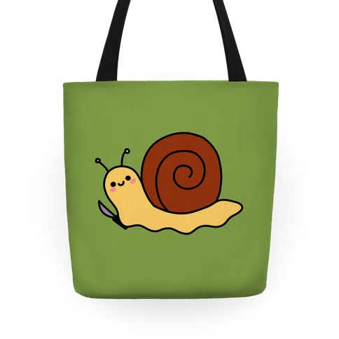 Snail With Knife Tote