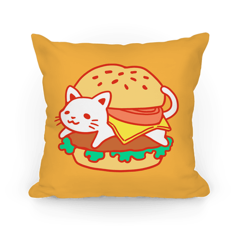 Burger Cat (No Text) Pillow
