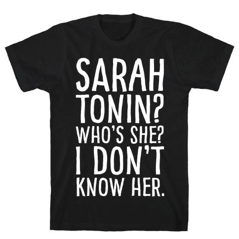 Sarah Tonin I Don't Know Her White Print T-Shirt