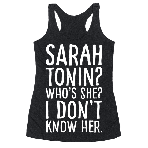 Sarah Tonin I Don't Know Her White Print Racerback Tank Top