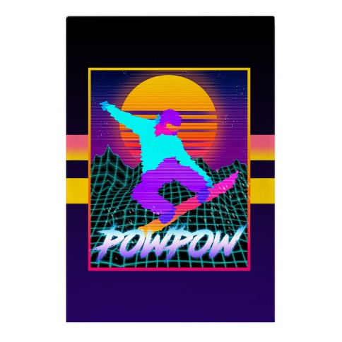 POWPOW Synthwave Snowboarder Garden Flag