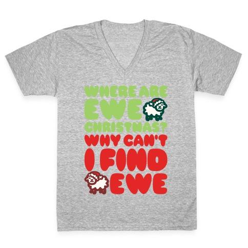 Where Are Ewe Christmas Parody White Print V-Neck Tee Shirt