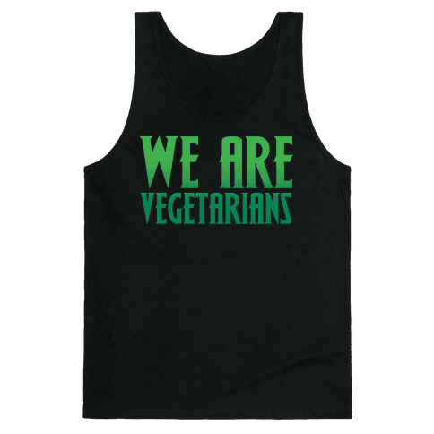 We Are Vegetarians Parody White Print Tank Top