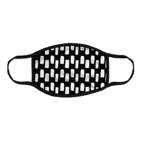 Organic Rectangle Pattern Black Flat Face Mask