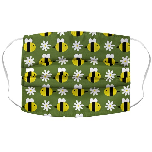 Dainty Bees and Daisies Pattern Green Accordion Face Mask