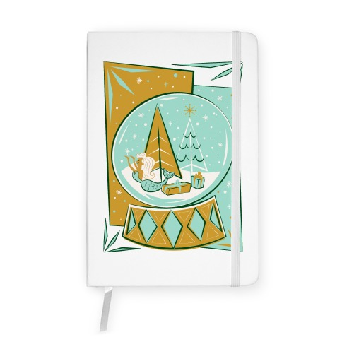 Mid-Century Modern Mermaid Holiday Snow Globe Notebook