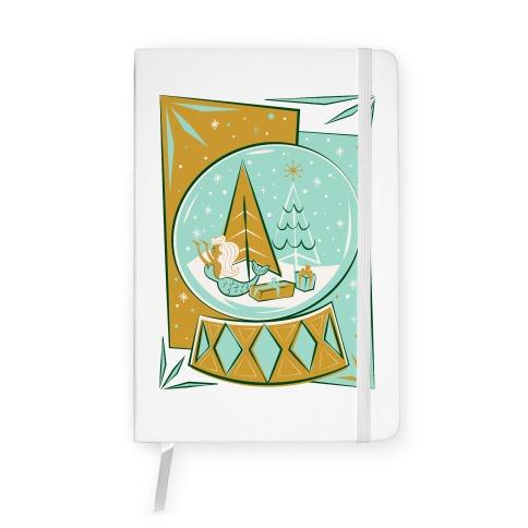 Mid-Century Modern Mermaid Holiday Snow Globe Notebook