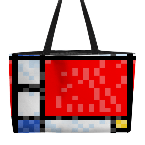 Pixelated Composition With Red Blue And Yellow Weekender Tote