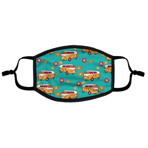 Retro Flower Bus Pattern Flat Face Mask