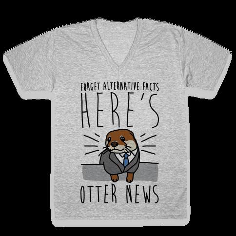 Otter News V-Neck Tee Shirt