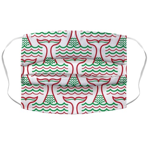 Happy Holiwaves Christmas Mermaid Accordion Face Mask
