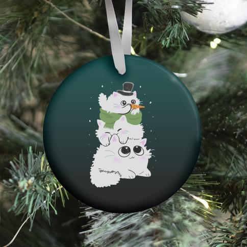 Cat Stack Snowman Ornament