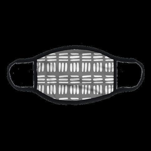 Dashed Lines Grey Boho Pattern Flat Face Mask
