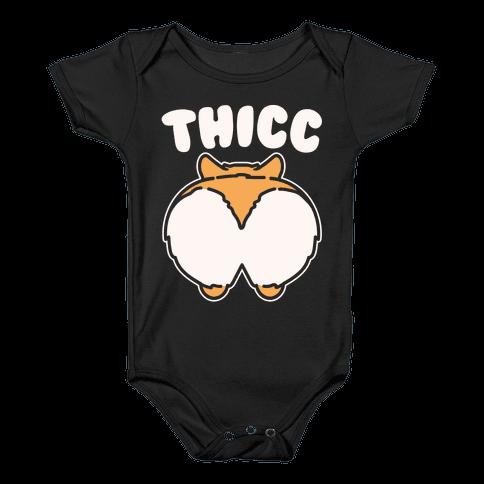 Thicc Corgi Butt Parody White Print Baby Onesy