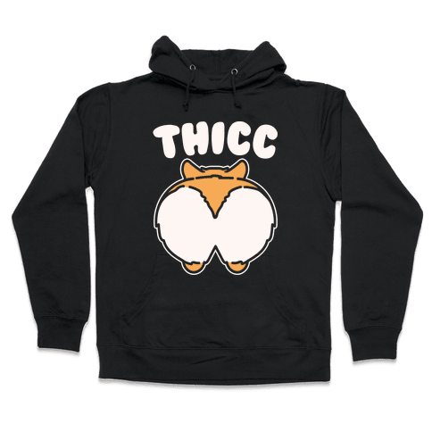 Thicc Corgi Butt Parody White Print Hooded Sweatshirt