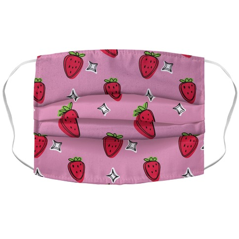 Sketchy Strawberry Pattern Accordion Face Mask
