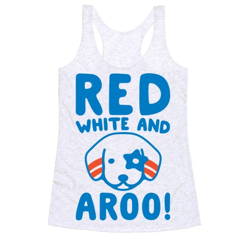 Red White and Aroo Racerback Tank Top