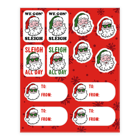 Sleighing Santa Gift Tags Sticker and Decal Sheet