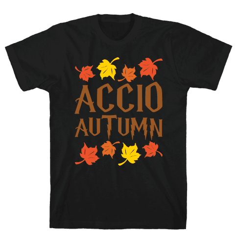 Accio Autumn Parody White Print Mens T-Shirt