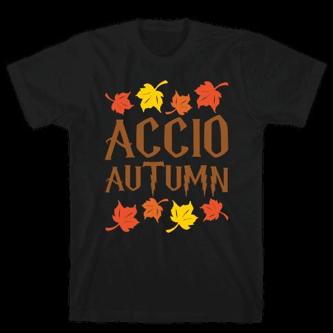 Accio Autumn Parody White Print Mens T-Shirt