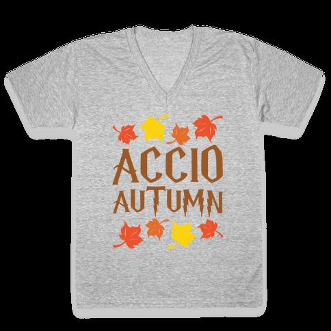 Accio Autumn Parody White Print V-Neck Tee Shirt
