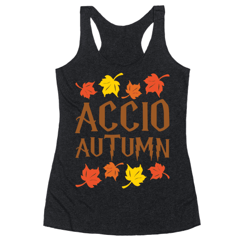 Accio Autumn Parody White Print Racerback Tank Top