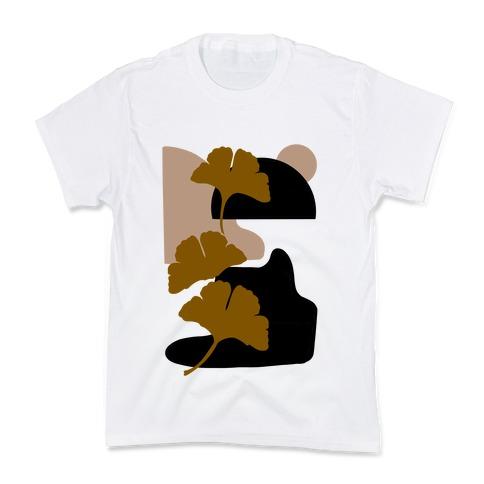 Minimalist Ginkgo Leaf Illustration Kids T-Shirt