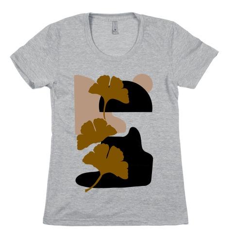 Minimalist Ginkgo Leaf Illustration Womens T-Shirt